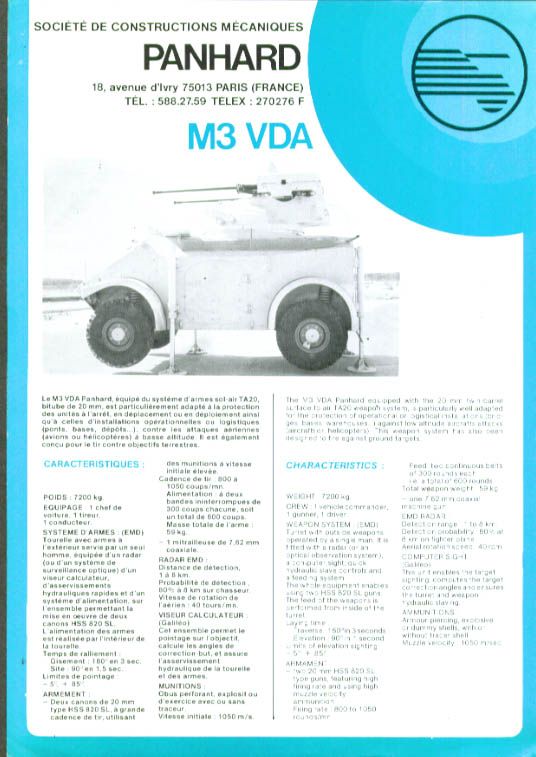 Panhard M3 VDA Fighting Vehicle sell sheet 1980s