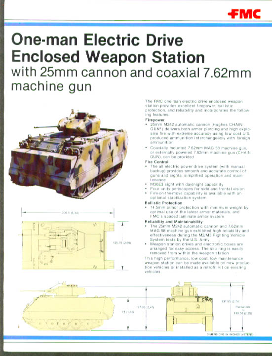 FMC 1-Man Enclosed Weapon Station sell sheet 1981