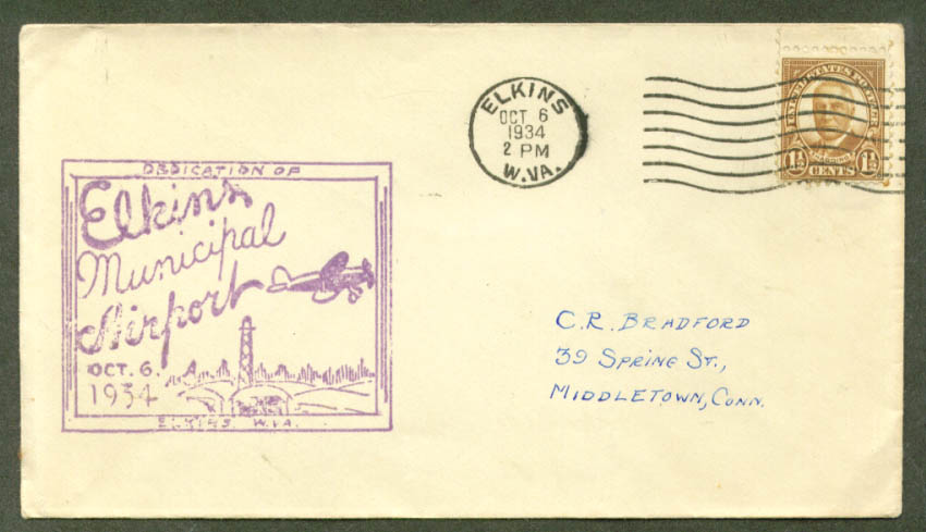 Elkin WV Municipal Dedication postal cover 10/6 1934