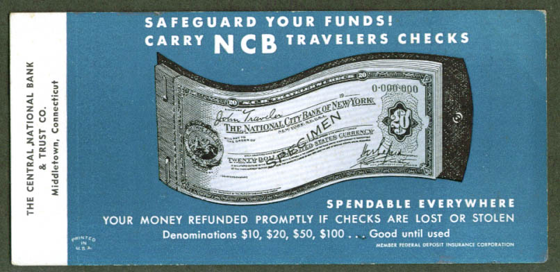 National City Bank of NY Travelers Checks blotter 40s