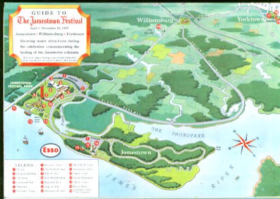 Esso Guide to Jamestown Festival map 1957