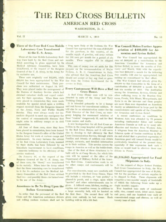 Lab Cars to Army RED CROSS BULLETIN 3/4 1918