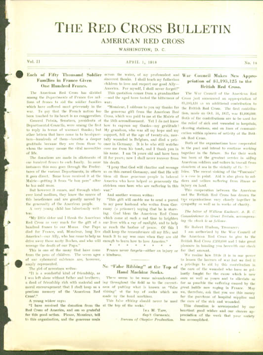 French Soldier Kin get 100f RED CROSS BULLETIN 4/1 1918