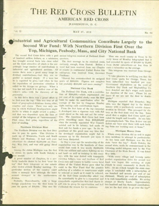 2nd War Fund Report RED CROSS BULLETIN 5/27 1918