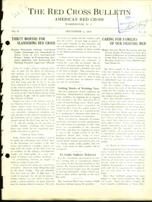 Soldier kin Slander case RED CROSS BULLETIN 9/2 1918