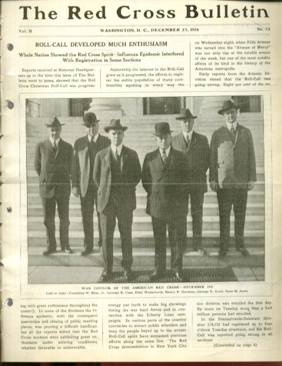 Roll-Call; Madeira RED CROSS BULLETIN 12/23 1918