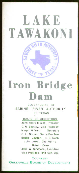 Lake Tawakoni Iron Bridge Dam folder 1959 Rains TX
