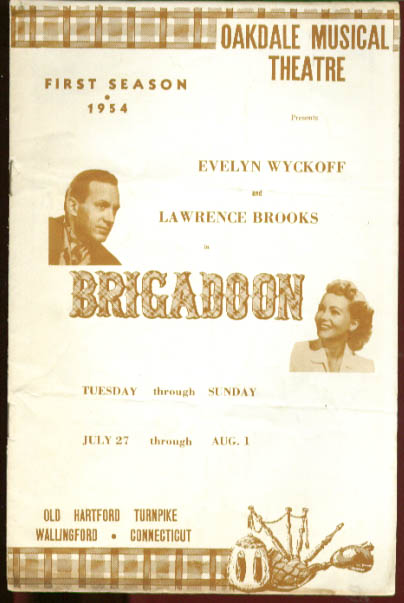 Evelyn Brooks Brigadoon Oakdale Theatre program 1954