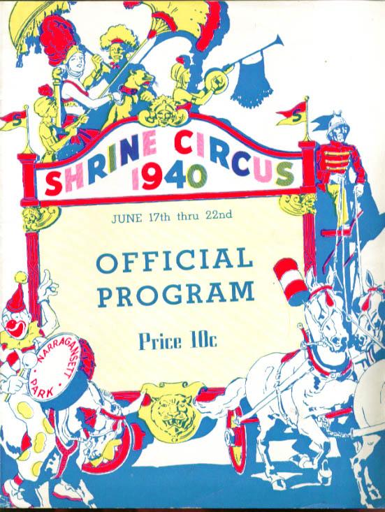 Palestine Shrine Circus Program 1940 Providence RI