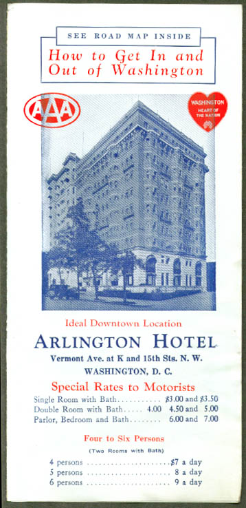 Arlington Hotel Washington DC folder & map 1927