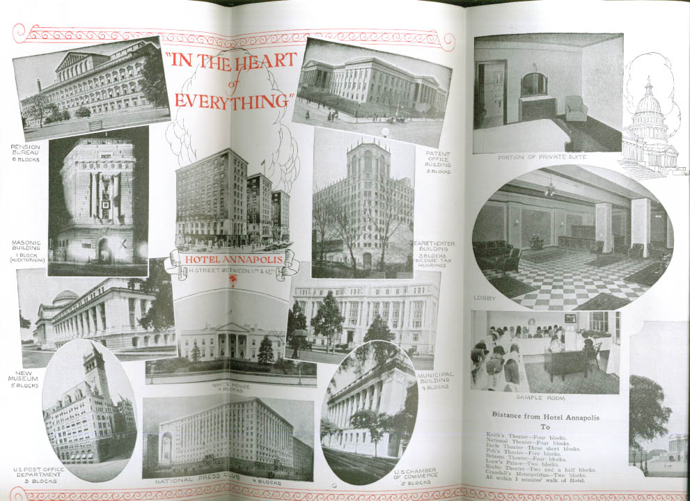 Hotel Annapolis Washington DC folder with sights 1927