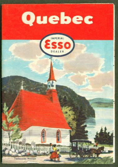 Esso Imperial Gasoline Road Map Quebec 1955