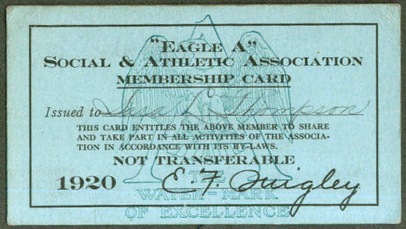 """Eagle A"" Social & Athletic Association Member Card 1920"