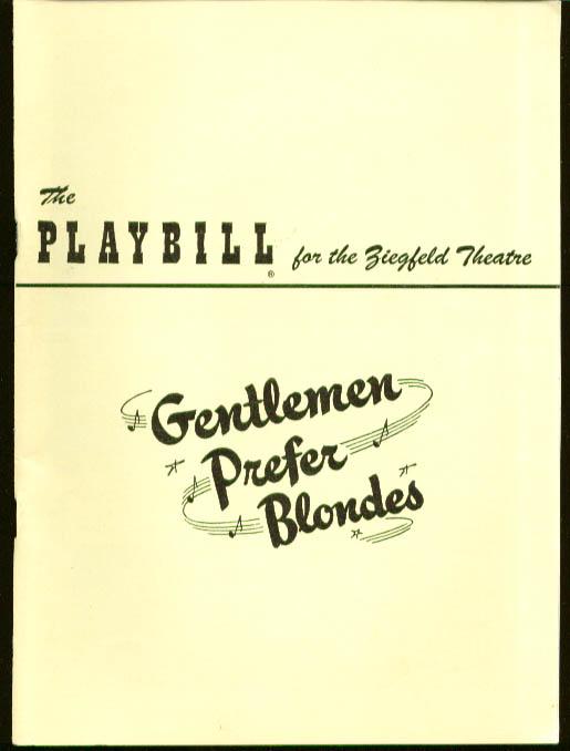 Carol Channing Gentlemen Prefer Blondes Playbill 1950