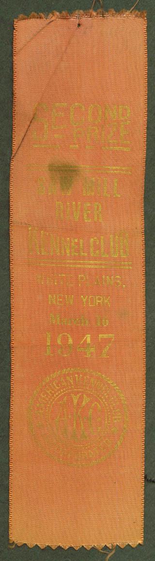 Saw Mill River AKC ribbon White Plains NY 1947