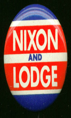 Nixon & Lodge pinback campaign button 1960