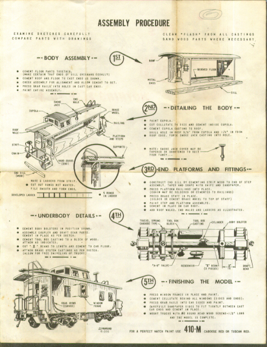 Silver Streak HO 410-M Caboose Instruction Sheet 1950s