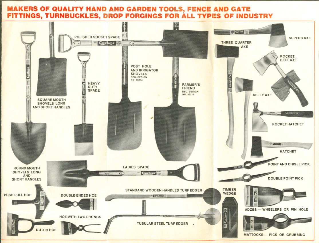Cyclone Forgings Hand & Garden Tools folder Australia 60s