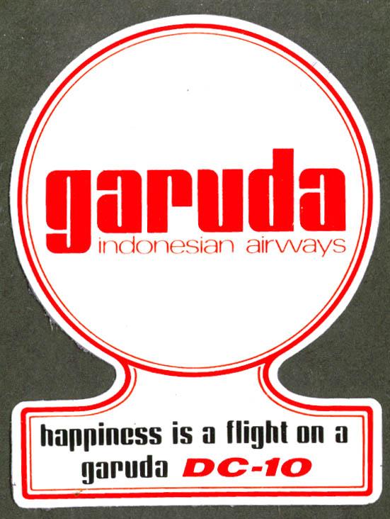 Garuda Indonesian Airways DC-10 baggage sticker