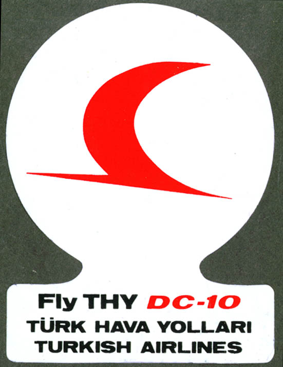 THY Turkish Airlines Fly DC-10 baggage sticker