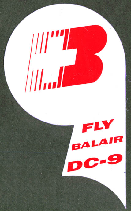 Balair Airlines Fly DC-9 baggage sticker