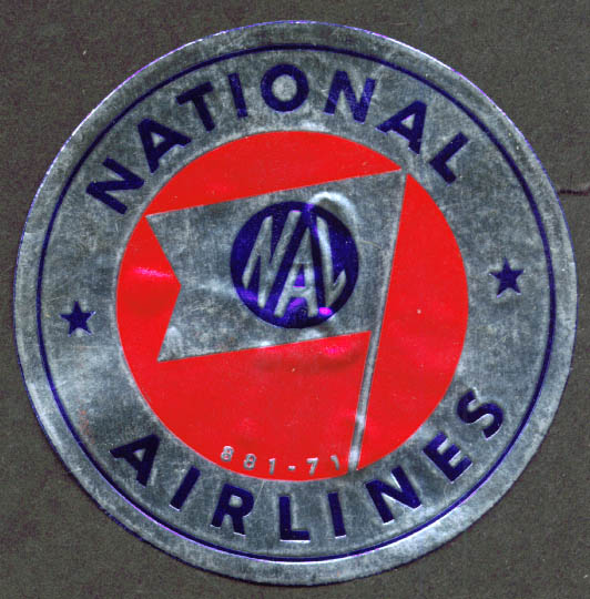 National Airlines NAL flag baggage sticker 1950s
