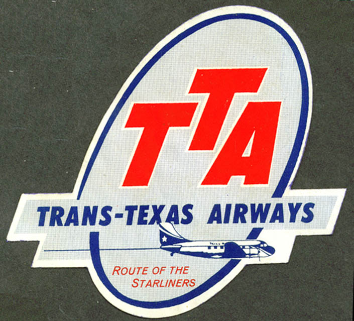 Trans-Texas Airways Route of the Starliners bag sticker