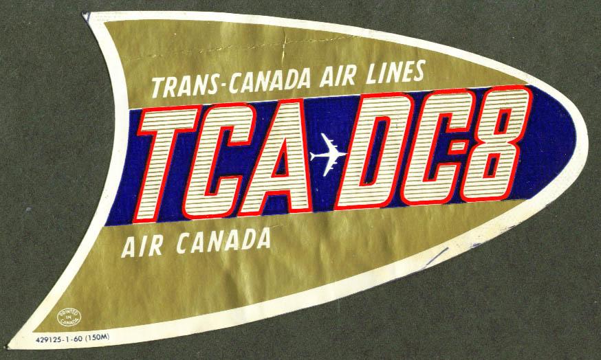 Trans-Canada Air Lines TCA DC-8 baggage sticker