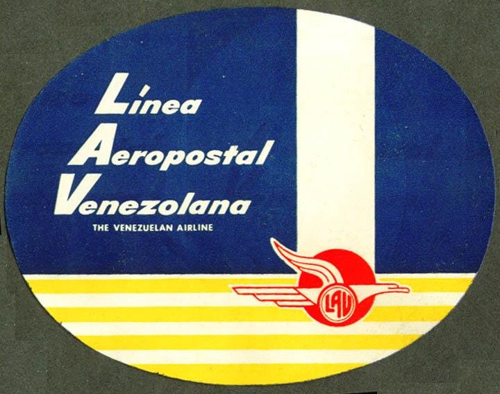 LAV Linea Aeropostal Venezolana baggage sticker