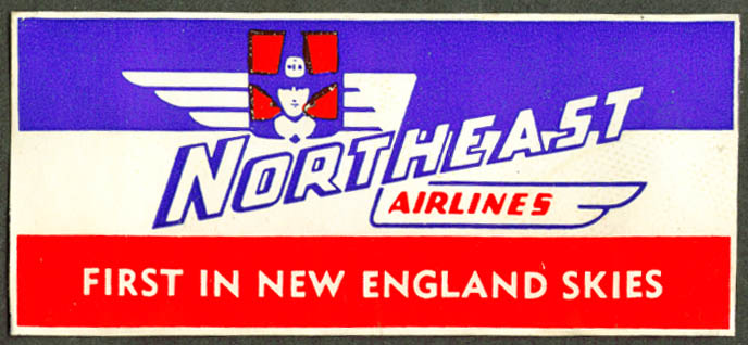 Northeast Airlines 1st in New England Skies bag sticker