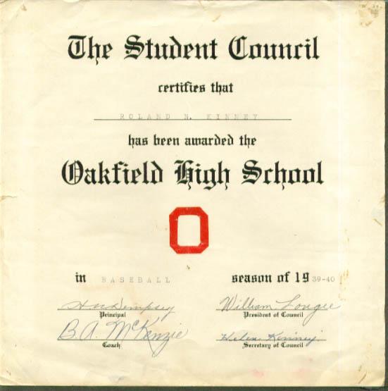 Oakfield High School Baseball Letter Award 1939-1940 ME