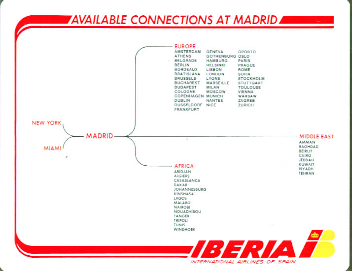 Iberia Airlines of Spain Madrid Connections Calendar