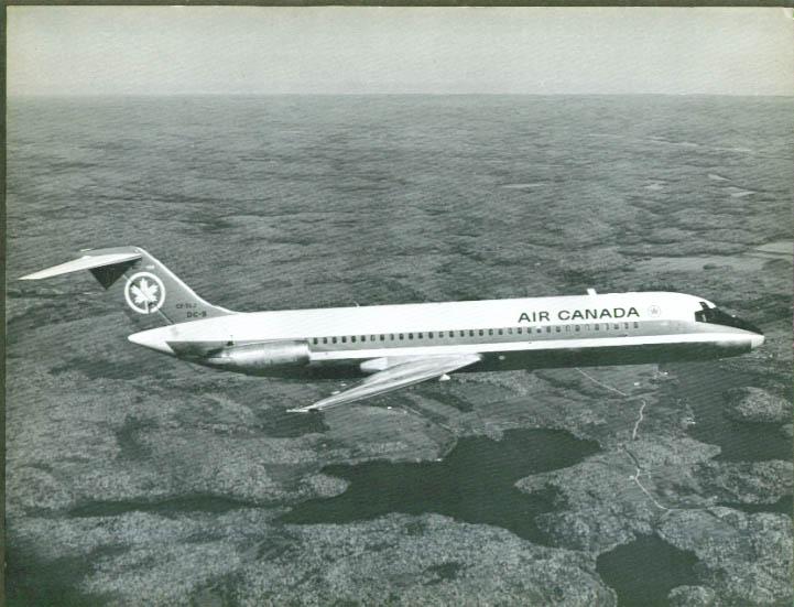 Air Canada Douglas DC-9-30 jetliner b&w print