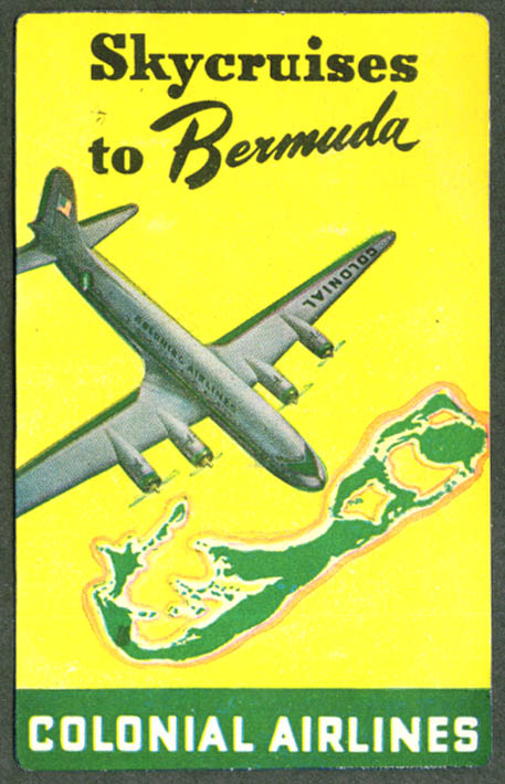 Colonial Airlines Skycruises to Bermuda baggage sticker