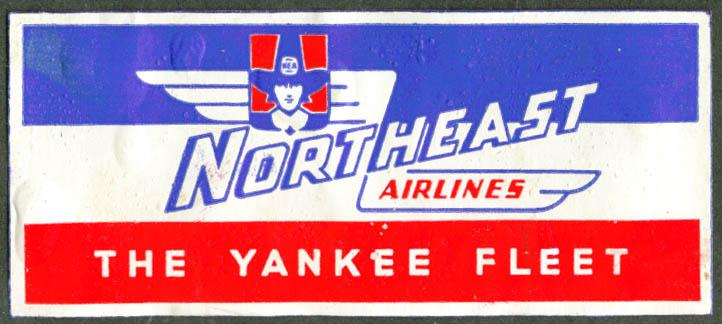 Northeast Airlines Yankee Fleet baggage sticker