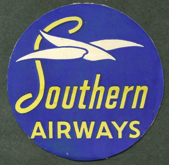 """Southern Airways baggage sticker used 3"""" diameter"""