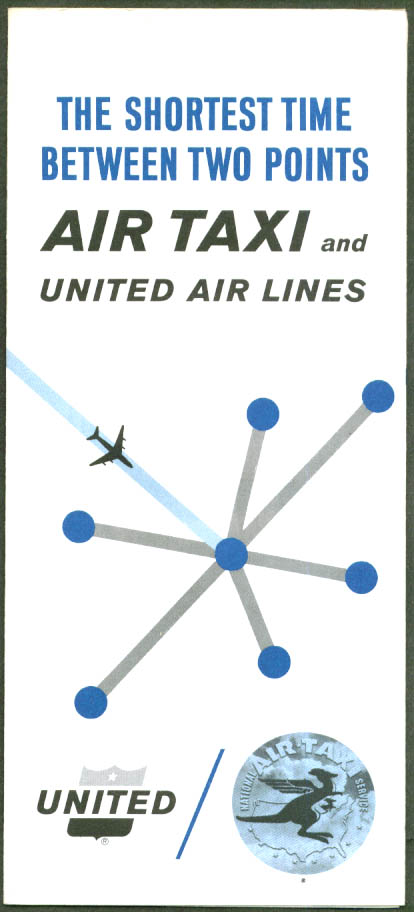 United Air Lines Air Taxi Shortest Time folder 1964