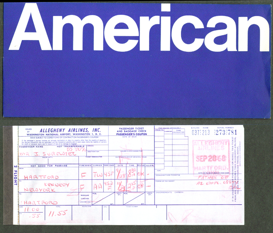 American Airlines ticket wrapper & ticket 1968