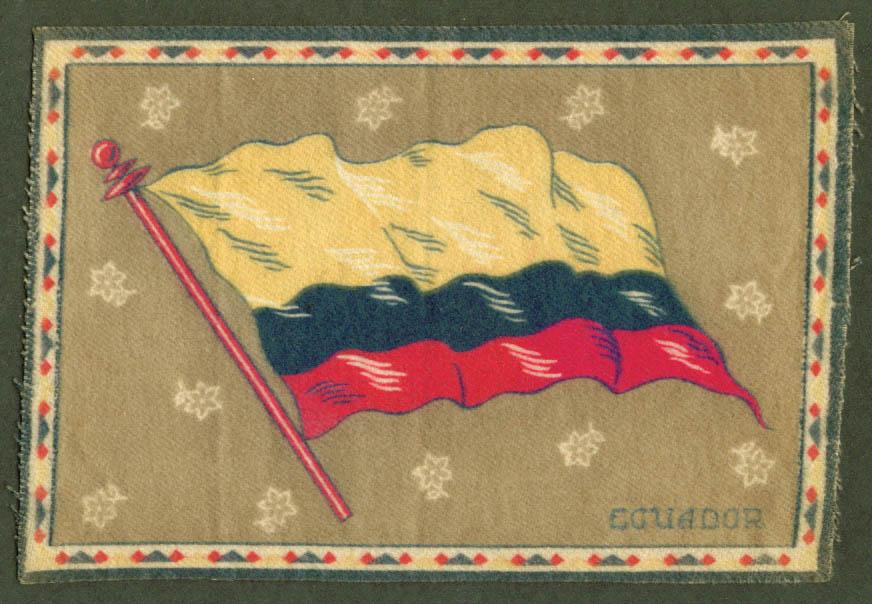 Ecuador Flag tobacco flannel felt 1910s grey ground