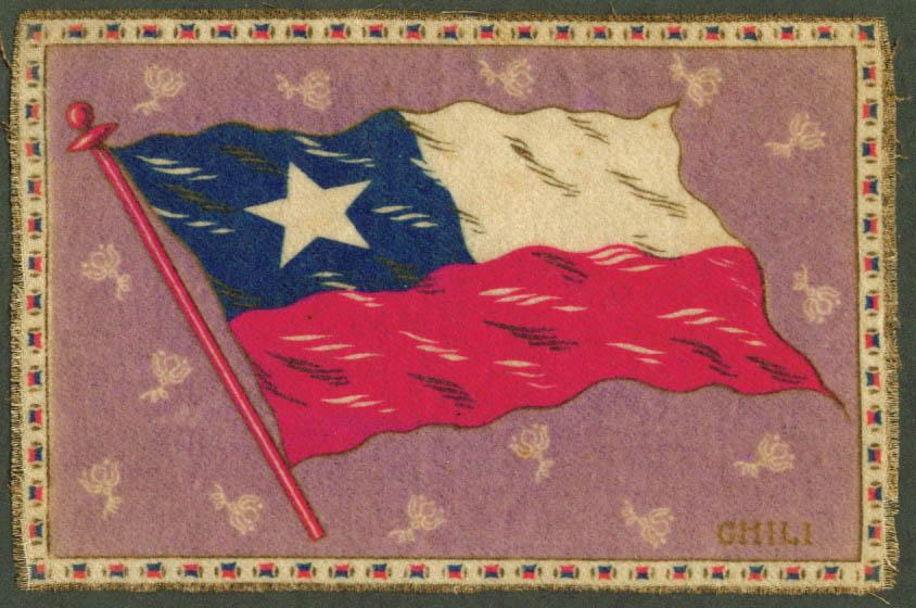 Chili Chile Flag tobacco flannel felt 1910s purple