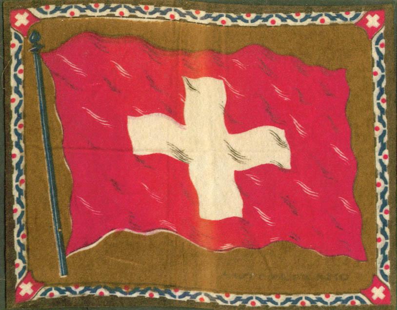 Switzerland Flag tobacco flannel felt 1910s brown ground