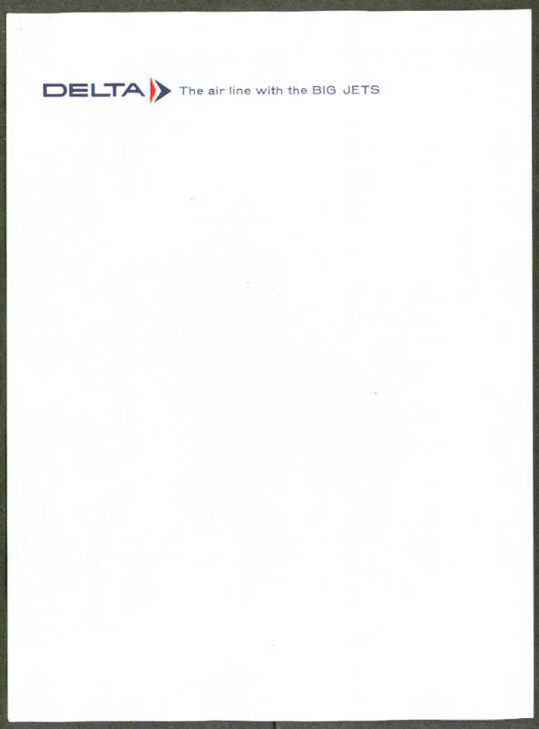 Delta Air Lines in-flight notepaper 1960s