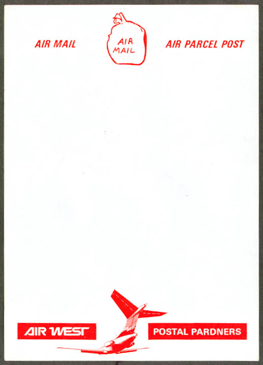 Air West Air Mail Postal Pardners letterhead