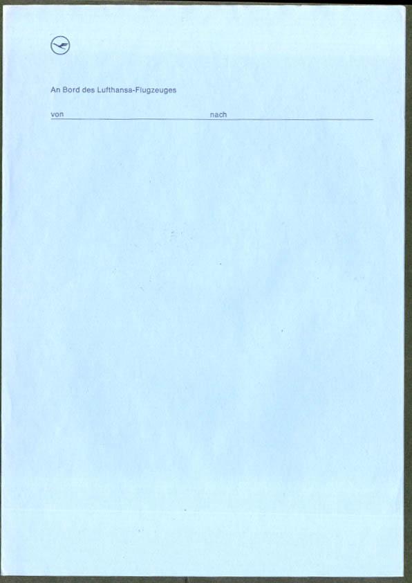 Lufthansa Flugzeuges German in-flight notepaper