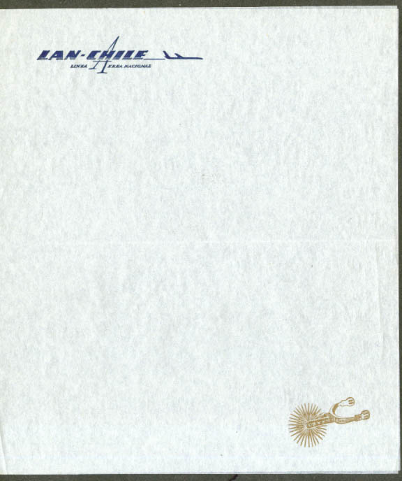 LAN-Chile Chile Airlines in-flight notepaper 1960s
