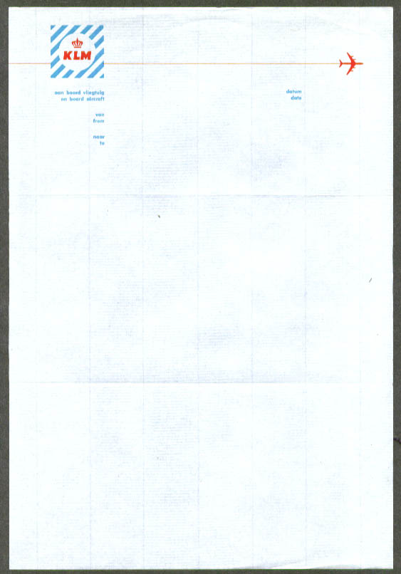 KLM Royal Dutch Airlines in-flight letterhead 1960s