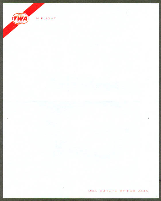 TWA In Flight USA Europe Africa Asia letterhead 60s