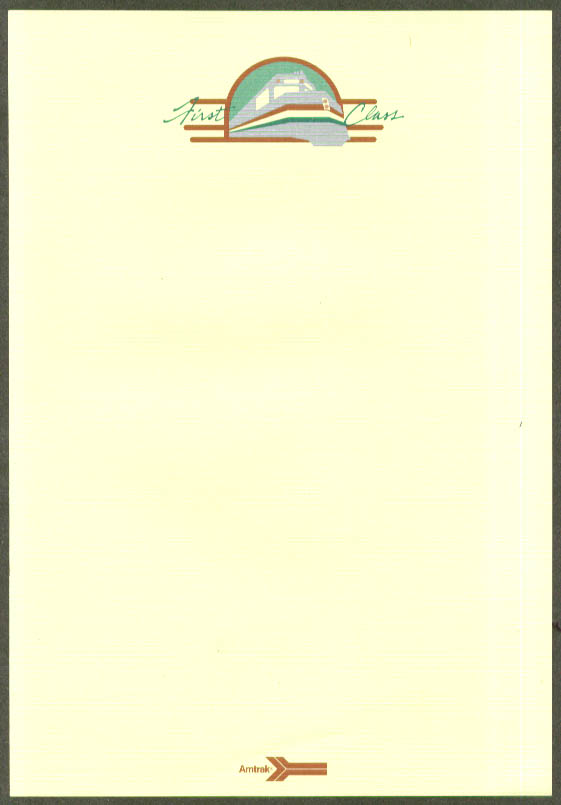Amtrak First Class on board letterhead 1970s