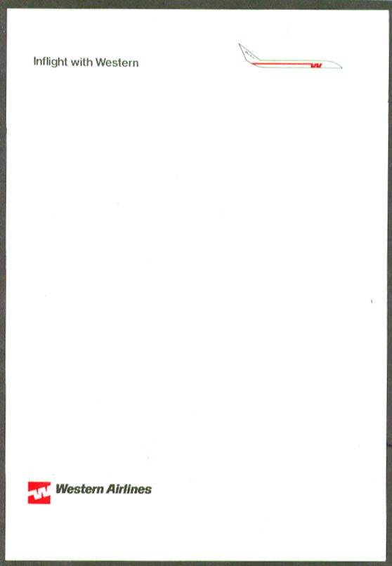Inflight with Western Airlines letterhead 1970s