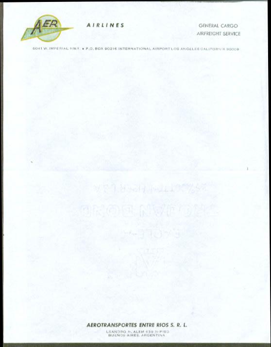 AER Aerotransportes Entre Rios letterhead 1960s